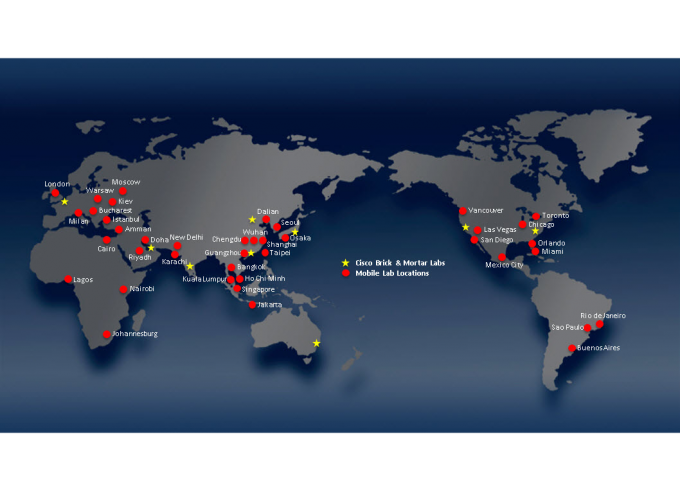 Map of Cisco Lab Locations and proposed Mobile Lab