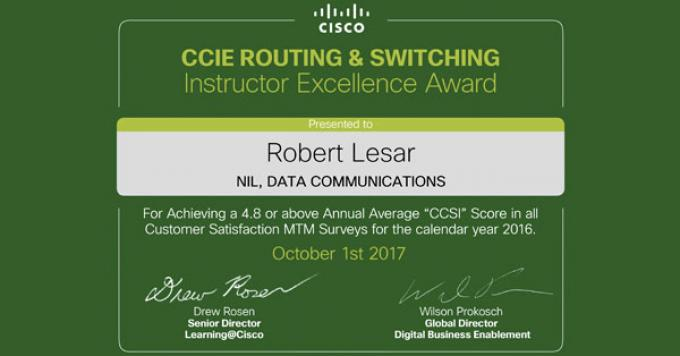 Robert Lesar wins the Cisco 2017 Instructor Excellence Award