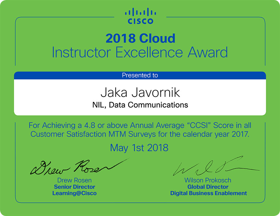 NIL's instructors win Cisco 2018 Instructor Excellence Awards